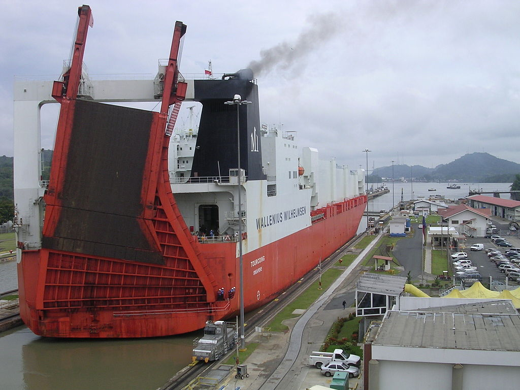Picture of a vehicle transporter ship passing through the Panama Canal