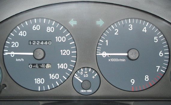 Picture of the dials on an imported Japanese car, showing the need for speedometer conversion to mph