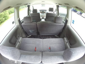 Picture of the 3 rows of seats in a Toyota Noah