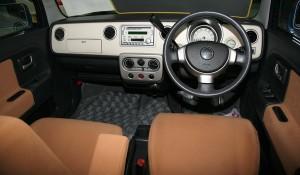 Picture of the interior of a Suzuki Alto Lapin kei car