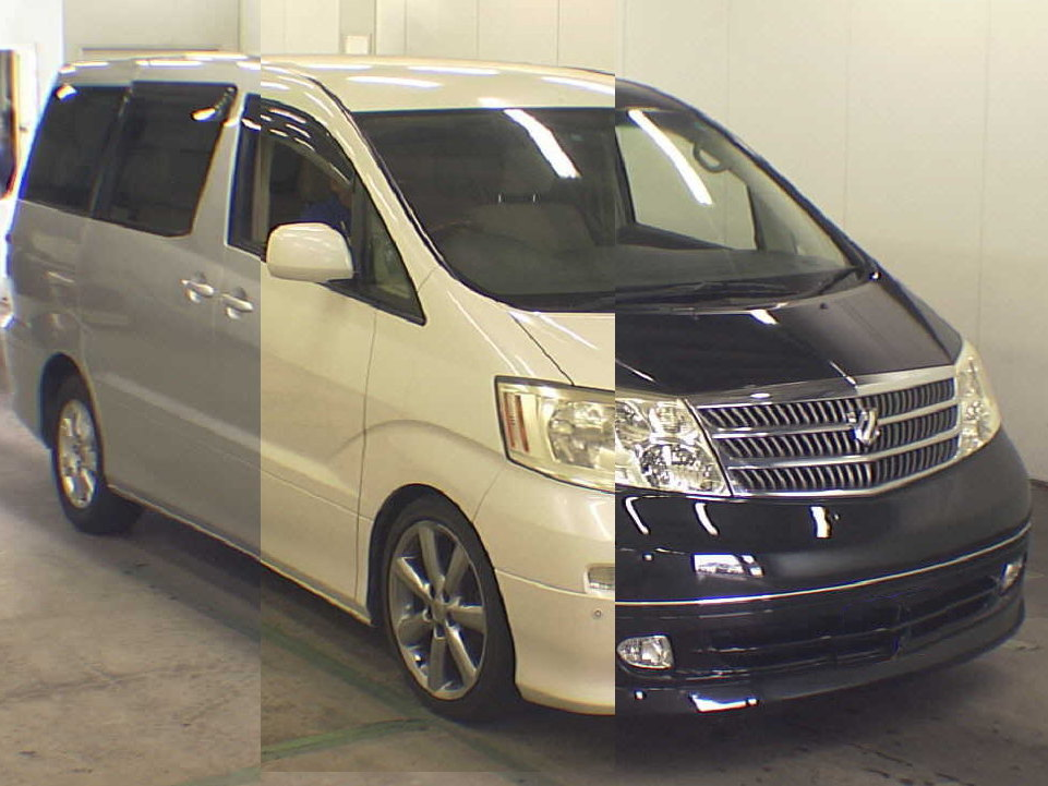 Picture of a Toyota Alphard showing the 3 most popular Japanese import car colours