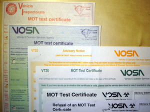 Picture of MOT test certificates - imported Japanese cars are not always MOT failures