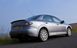 Picture of the right rear of a Mazda 6 MPS