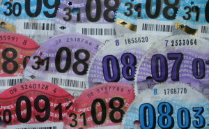 Pictures of old Japanese import car tax discs