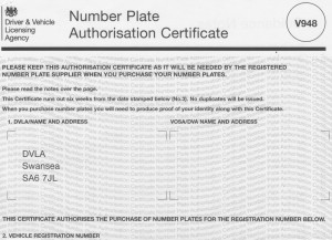 Picture of an example DVLA V948 japanese import car registration number authorisation certificate