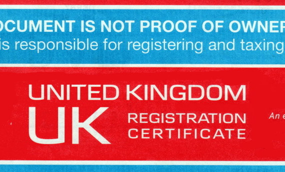 Picture of the front cover of a Japanese import car registration document from the DVLA