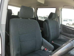 Grey and black interior in a Toyota Alphard