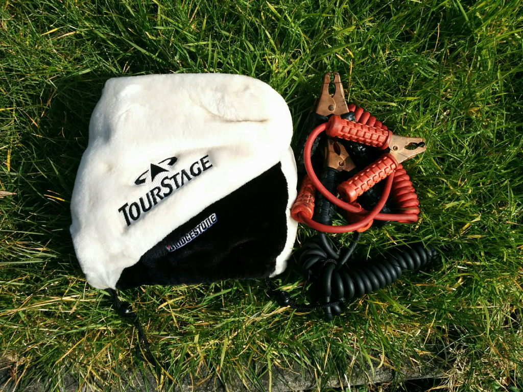 Curly jump leads in a fleece Bridgestone bag, found in an imported Japanese car