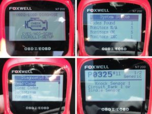 Picture of finding Honda P0325 code using Foxwell NT200