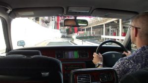 Picture of the left rear seat passenger's view in a Toyota Century