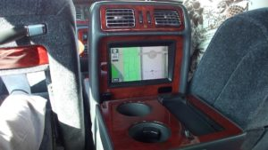 Picture of the Toyota Century rear TV screen and foot rest