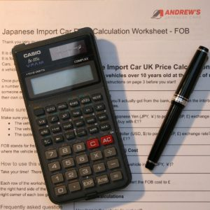 picture of the Japanese import car cost calculator worksheet from Andrew's Japanese Cars