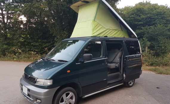 Picture of the left front quarter of Mazda Bongo auto free top 2.5 TD for sale roof up