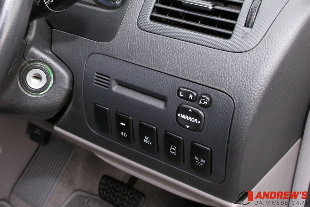 Picture of the rear fog light switch on a Toyota Alphard
