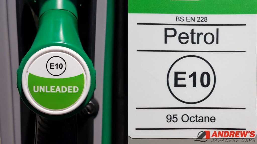 Pictures of E10 stickers at a petrol pump in the UK
